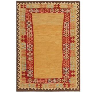 Herat Oriental Afghan Hand-woven Kilim Tan/ Red Wool Rug (4'2 x 6')
