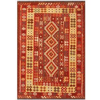 Herat Oriental Afghan Hand-woven Tribal Kilim Red/ Beige Wool Rug (4'8 x 6'8)