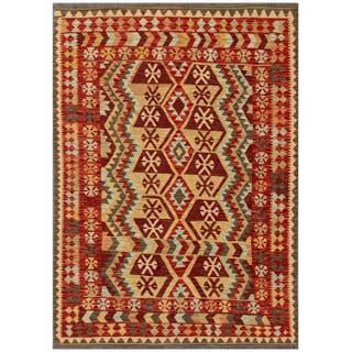 Herat Oriental Afghan Hand-woven Tribal Kilim Red/ Beige Wool Rug (4'9 x 6'6)