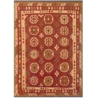 Herat Oriental Afghan Hand-woven Tribal Kilim Red/ Beige Wool Rug (4'11 x 7')