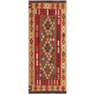Herat Oriental Afghan Hand-woven Tribal Kilim Red/ Tan Wool Rug (2'8 x 6'6)