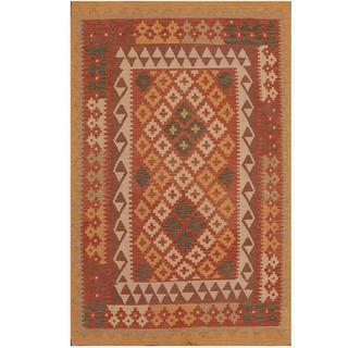 Herat Oriental Afghan Hand-woven Tribal Kilim Rust/ Gold Wool Rug (3'3 x 5')