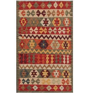 Herat Oriental Afghan Hand-woven Tribal Kilim Red/ Green Wool Rug (2'11 x 4'8)