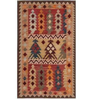 Herat Oriental Afghan Hand-woven Tribal Kilim Red/ Brown Wool Rug (3'1 x 4'11)