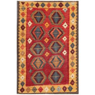 Herat Oriental Afghan Hand-woven Tribal Kilim Red/ Gold Wool Rug (3' x 4'8)