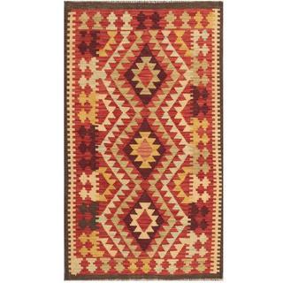 Herat Oriental Afghan Hand-woven Tribal Kilim Red/ Beige Wool Rug (2'10 x 4'10)