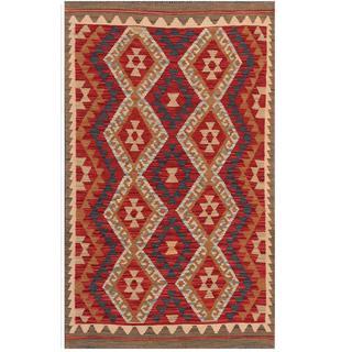 Herat Oriental Afghan Hand-woven Tribal Kilim Red/ Brown Wool Rug (3'2 x 5')