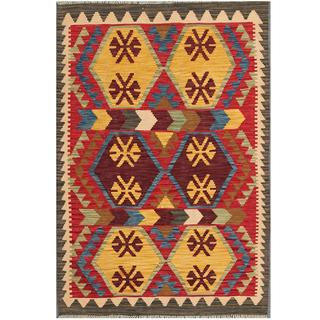 Herat Oriental Afghan Hand-woven Tribal Kilim Red/ Gold Wool Rug (3'3 x 4'11)