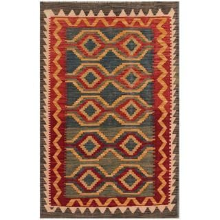 Herat Oriental Afghan Hand-woven Tribal Kilim Blue/ Red Wool Rug (3'2 x 4'11)