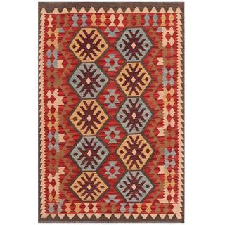 Herat Oriental Afghan Hand-woven Tribal Kilim Red/ Grey Wool Rug (3'4 x 4'11)