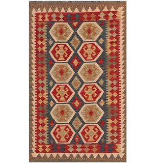 Herat Oriental Afghan Hand-woven Tribal Kilim Navy/ Red Wool Rug (3' x 5'1)