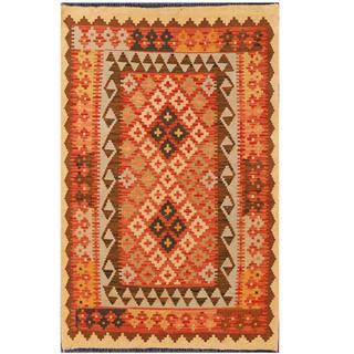 Herat Oriental Afghan Hand-woven Tribal Kilim Red/ Beige Wool Rug (3'3 x 4'1)