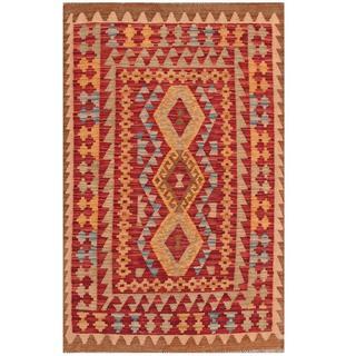 Herat Oriental Afghan Hand-woven Tribal Kilim Red/ Brown Wool Rug (3'2 x 4'11)