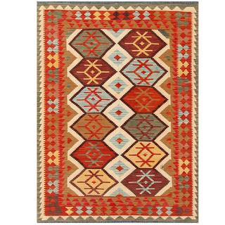Herat Oriental Afghan Hand-woven Tribal Kilim Tan/ Red Wool Rug (4'11 x 6'7)