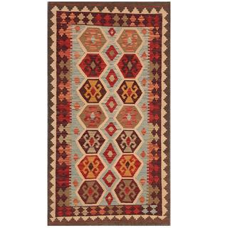 Herat Oriental Afghan Hand-woven Kilim Light Blue/ Ivory Wool Rug (2'10 x 5'2)
