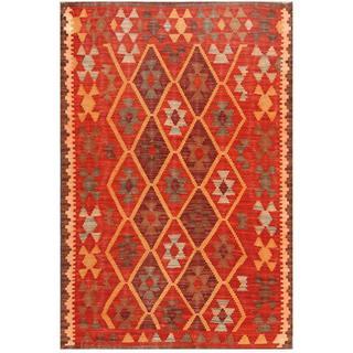 Herat Oriental Afghan Hand-woven Kilim Red/ Burgundy Wool Rug (3'1 x 4'8)