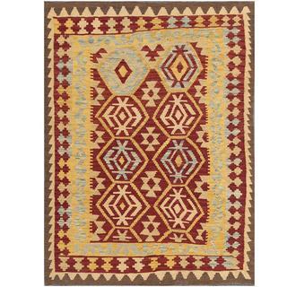 Herat Oriental Afghan Hand-woven Kilim Burgundy/ Tan Wool Rug (4'2 x 5'6)