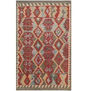 Herat Oriental Afghan Hand-woven Kilim Maroon/ Beige Wool Rug (3'1 x 5')
