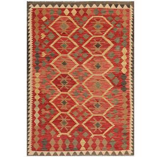 Herat Oriental Afghan Hand-woven Kilim Red/ Beige Wool Rug (4'3 x 5'11)