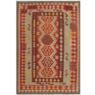 Herat Oriental Afghan Hand-woven Kilim Maroon/ Ivory Wool Rug (4'3 x 6'2)