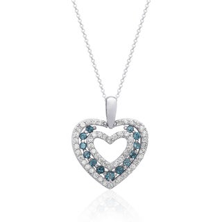 Dolce Giavonna Sterling Silver London Blue Topaz and Cubic Zirconia Heart Necklace