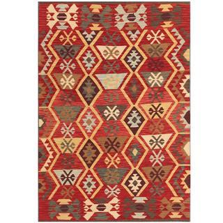 Herat Oriental Afghan Hand-woven Kilim Red/ Tan Wool Rug (4'2 x 6'2)