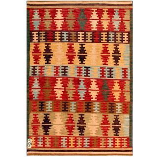 Herat Oriental Afghan Hand-woven Kilim Red/ Beige Wool Rug (4' x 6')