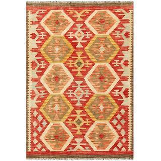 Herat Oriental Afghan Hand-woven Kilim Red/ Ivory Wool Rug (4'2 x 6')