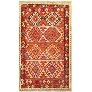 Herat Oriental Afghan Hand-woven Kilim Red/ Tan Wool Rug (4'1 x 6'6)