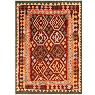 Herat Oriental Afghan Hand-woven Kilim Burgundy/ Tan Wool Rug (4' x 5'6)