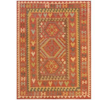 Herat Oriental Afghan Hand-woven Kilim Salmon/ Brown Wool Rug (4'10 x 6'6)