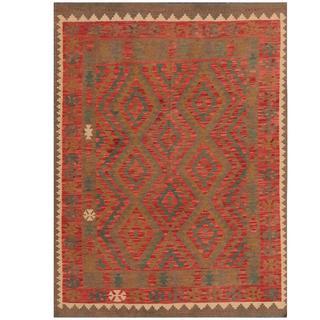 Herat Oriental Afghan Hand-woven Kilim Red/ Brown Wool Rug (4'10 x 6'5)