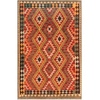 Herat Oriental Afghan Hand-woven Kilim Red/ Apricot Wool Rug (4' x 6')