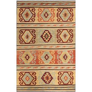 Herat Oriental Afghan Hand-woven Kilim Salmon/ Ivory Wool Rug (4'1 x 6'3)
