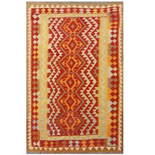 Herat Oriental Afghan Hand-woven Kilim Red/ Ivory Wool Rug (4'3 x 6'8)