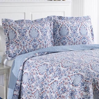 Laura Ashley Katie Patriot Reversible Cotton 3-piece Quilt Set
