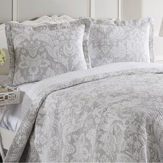 Laura Ashley Connemara Neutral Reversible 3-piece Cotton Quilt Set