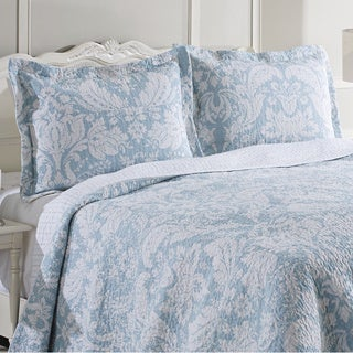Laura Ashley Connemara Blue Reversible Cotton 3-piece Quilt Set