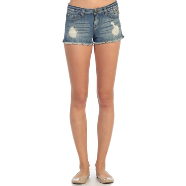 Hadari Women's Distressed Denim Cut Off Shorts