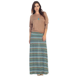 Hadari Women's Multicolored Chevron Print Maxi Skirt