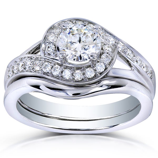 Annello 14k White Gold 3/4ct TDW Round Diamond 2-piece Bridal Rings Set (H-I, I1-I2)
