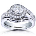 Annello 14k White Gold 3/4ct TDW Round Diamond 2-piece Bridal Rings Set (H-I, I1-I2)
