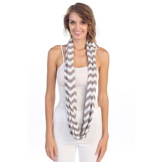 Grey/ White Chevron Print Scarf