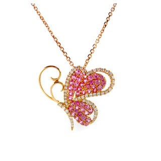Kabella Luxe 18k Rose Gold 1/4ct TDW Diamond Sapphire Butterfly Critter Pendant Necklace (H-I, SI1-SI2)