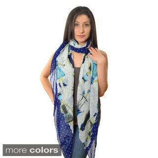 Hearts and Ladies Printed Scarf