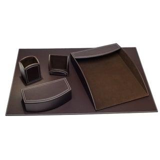 Espresso Brown 5-piece Leatherette Desk Set