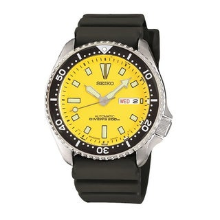 Seiko Men's SKXA35 Automatic Diver Yellow Dial Watch