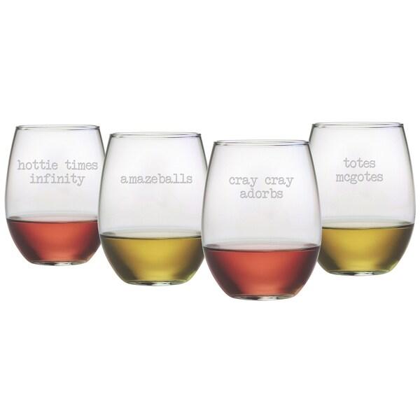 Girl Talk Stemless Wine Glasses (Set of 4)