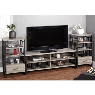 Simple Living Seneca Black/ Grey Reclaimed Look 60-inch TV Stand with Piers