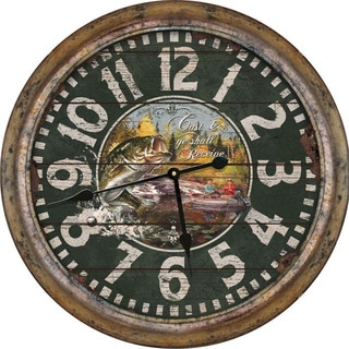 River's Edge 26-inch Distressed Fishing Clock